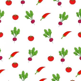 Chili beetroot tomato summer market seamless pattern