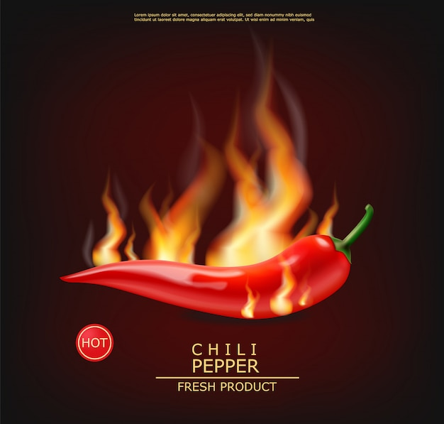 Chili on fire realistic hot pepper
