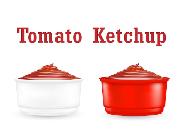 Chili ketchup sauce in a little plastic bowl