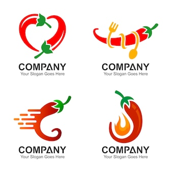 Chili logo design set, chili icons set