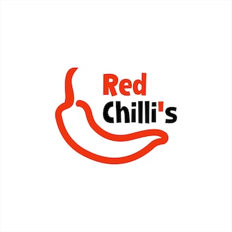 Chili logo simple pepper vector in outline style