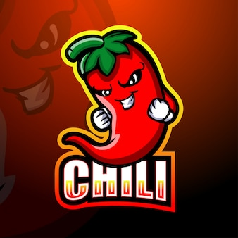 Chili mascot esport illustration