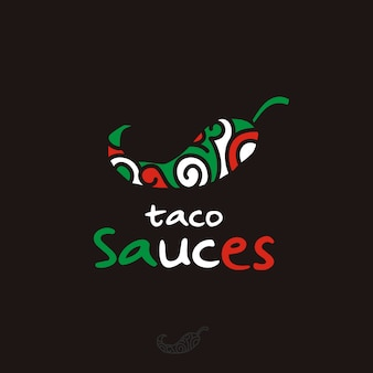 Chili papper with artistic pattern mexican flag for taco sauce logo design