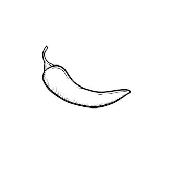 Перец чили рисованной наброски каракули значок. векторная иллюстрация эскиз перца чили для печати, интернета, мобильных устройств и инфографики, изолированные на белом фоне.