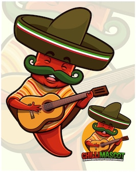 Chili pepper mascot wearing mexican outfit