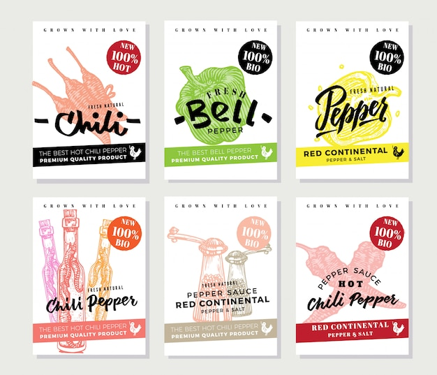 Chili pepper posters set