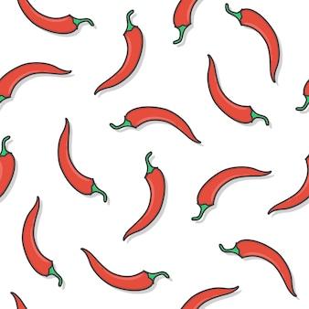 Chili pepper seamless pattern on a white background. fresh chili pepper icon vector illustration