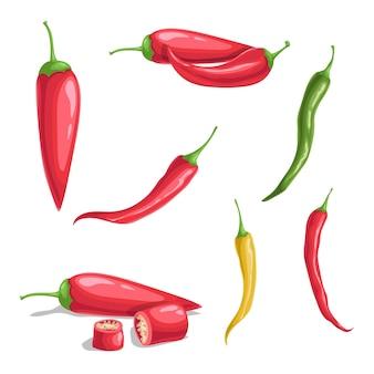 Перец чили в мультяшном плоском стиле. различные виды острых острых овощей. целые и нарезанные. кайенский перец. векторные иллюстрации, изолированные на белом фоне.