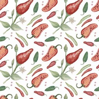 Чили перец специи акварель рисованной иллюстрации патио бесшовные набор фон острая еда