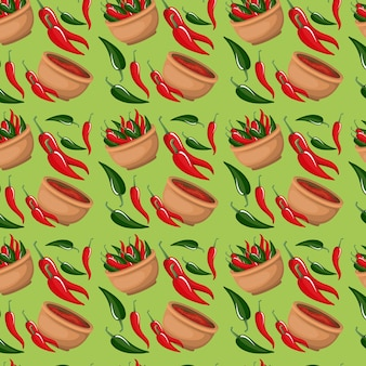 Chili peppers and bowl pattern in green background