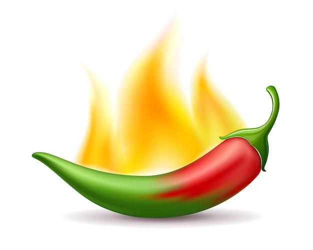 Перец чили красный градиент зеленый огонь горячий