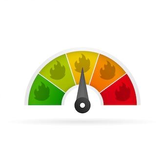 Перец чили масштабирует легкие, средние, горячие и адские иконки.