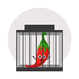 칠리 감옥 마스코트 캐릭터 로고