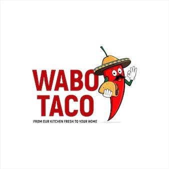 칠리 솜브레로 와보 타코 멕시코 음식 로고 디자인