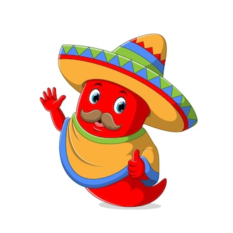 Chili wearing sombrero hat with the mustache illustration