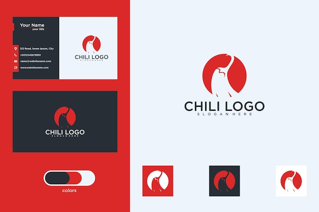 Chili with circle logo design and business card