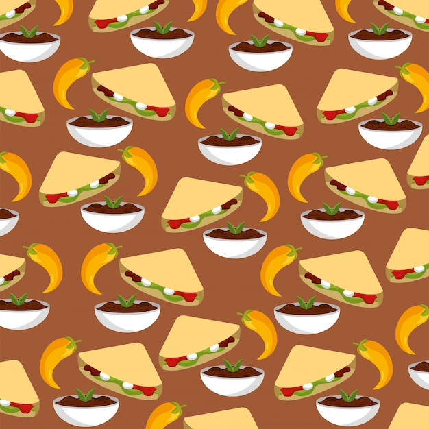 Chili with spicy sauce and tacos background