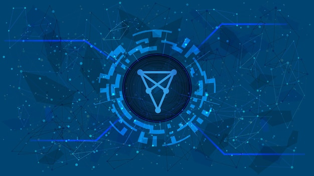 Chiliz chz token symbol in digital circle with cryptocurrency theme on blue background. cryptocurrency coin icon. vector illustration.