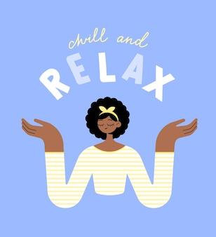 縞模様のセーターで美しい黒人の女の子を冷やしてリラックスして瞑想します