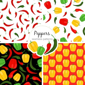Chilli and bell pepper patterns