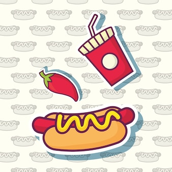 Chilli and hot dog with soft drink cup icon over white background