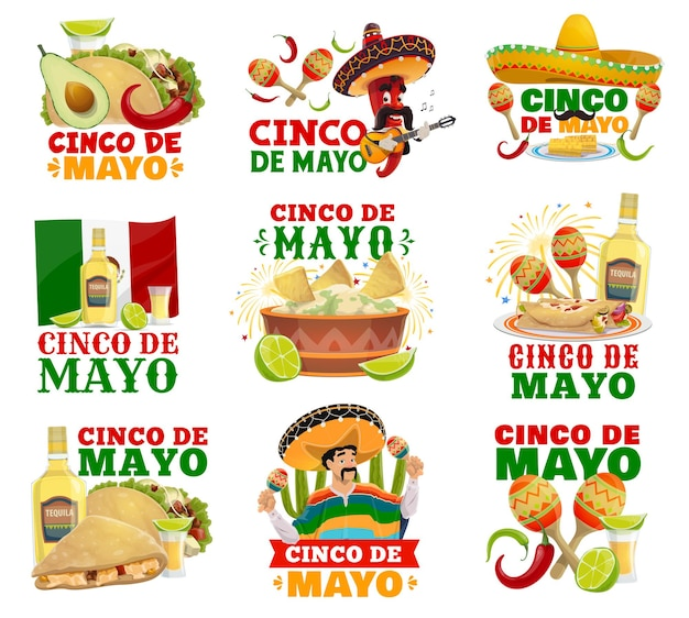 Chilli pepper and mariachi characters with mexico flag Premium Vector