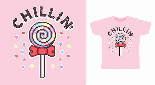 Дизайн футболки иллюстраций конфет chillin