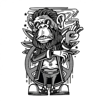 Chillin monkey black and white illustration