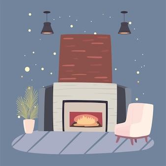 煙突とソファ