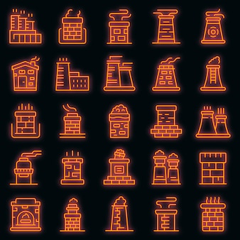Chimney icons set. outline set of chimney vector icons neon color on black