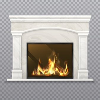 불타는 나무와 굴뚝 또는 벽난로. 현실적인 난로, 대리석 벽이있는 3d 스토브, 장작이있는 고전적인 맨틀 피스, 굴뚝 조각이있는 집 인테리어, 로그가있는 용광로. 벡터 노변 아키텍처
