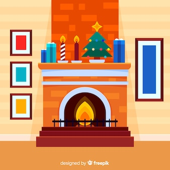 Chimney with christmas decoration