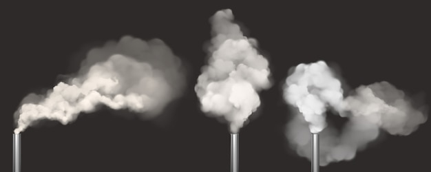 Chimneys with smoke, pipes with white steam set