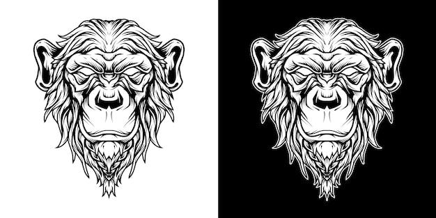 チンパンジーの頭のロゴの線画