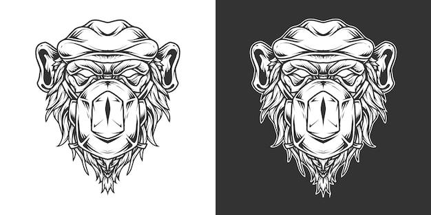 チンパンジーメディックヘッドのロゴラインアート