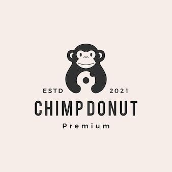 Шимпанзе обезьяна пончики битник винтажный логотип
