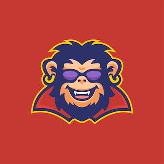 침팬지 동물 머리 로고 템플릿 그림입니다. e스포츠 로고 게임 프리미엄 벡터