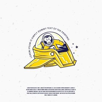黄色の宇宙船イラストロゴプレミアムチンパンジー宇宙飛行士