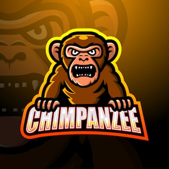 Дизайн логотипа киберспорта талисмана шимпанзе