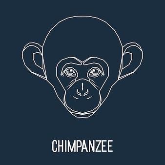 Портрет обезьяны шимпанзе, нарисованный одной непрерывной линией, изолированной на стильном темном фоне, для использования в дизайне для открытки, приглашения, плаката, баннера, плаката, обложки рекламного щита