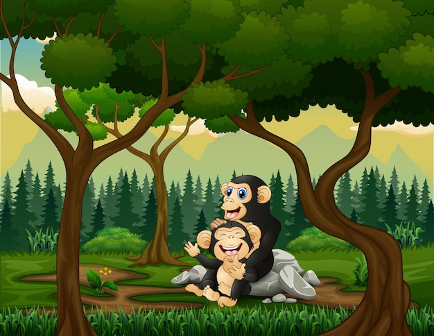 森の中で赤ちゃんとチンパンジーの母親