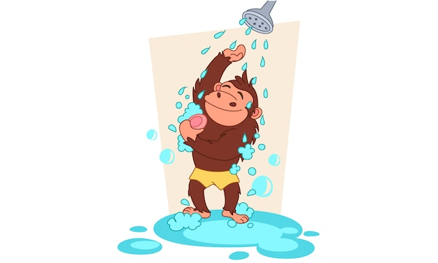 Chimpanzee taking a bath vector illustration