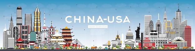 灰色の建物と青い空と中国と米国のスカイライン
