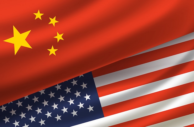 Китай и сша. векторный фон с флагами