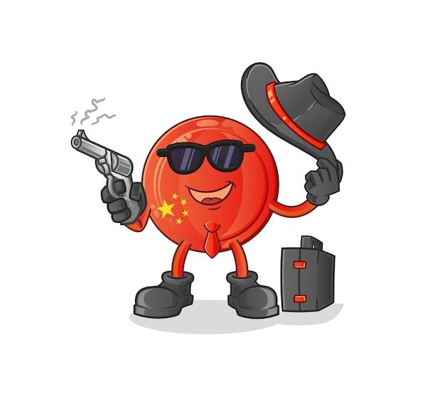 The china badge mafia with gun character. cartoon mascot