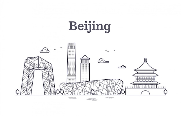 China beijing line panoramic skyline vector illustration