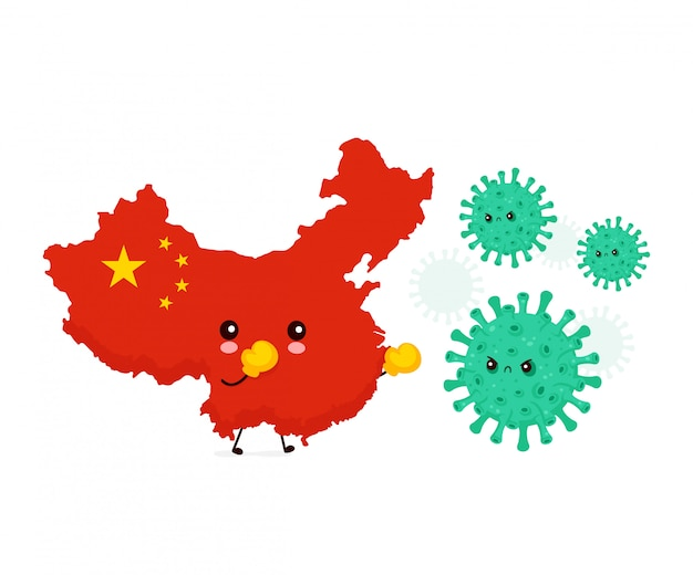 China in box gloves fight with bad coronavirus infection,micro bacteria.vector flat style cartoon character illustration.isolated on white background. china corona virus epidemic concept