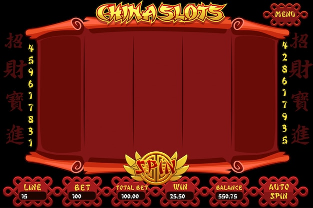 China casino slot machine game. chinese characters representing good luck and fortune.  complete interface chinese slot machine and buttons.