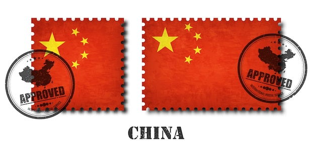 China or chinese flag pattern postage stamp
