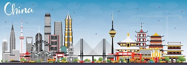 Горизонты города китая. известные достопримечательности в китае. векторные иллюстрации. деловые поездки и концепция туризма. изображение для презентации, баннера, плаката и веб-сайта.